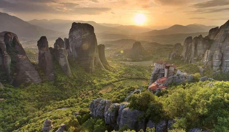 The Rousannou (Ρουσανου) Monastery in Metéora, Greece. Most of the monasteries here most are perched on high cliffs and accessible by staircases cut into the rock formations. They were created to serve monks and nuns following the teachings of the Greek Orthodox Church.