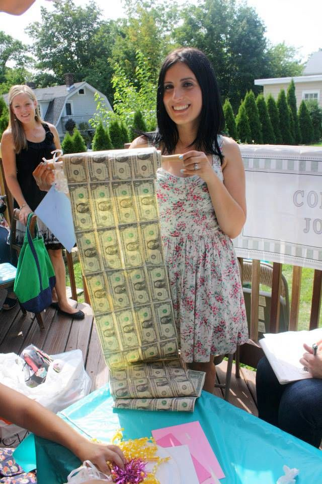 Bridal shower gift. Rolling in dough. Bride. Wedding. Engaged. Money. Rolling pin.