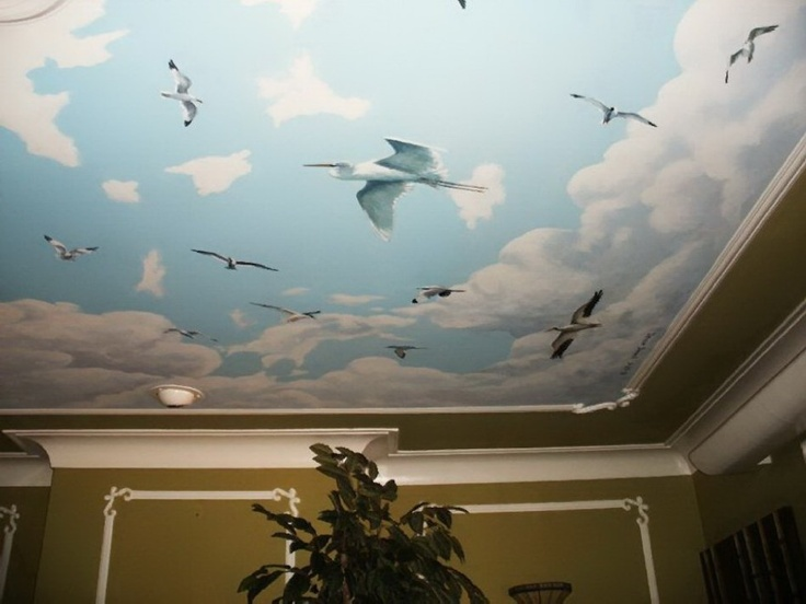 The Amazing Designs Of Ceiling Art Ideas With The Unique Picture: Amazing  Clouds And Birds Ceiling Mural Ideas Blue White Color Cool Large Design  High ...