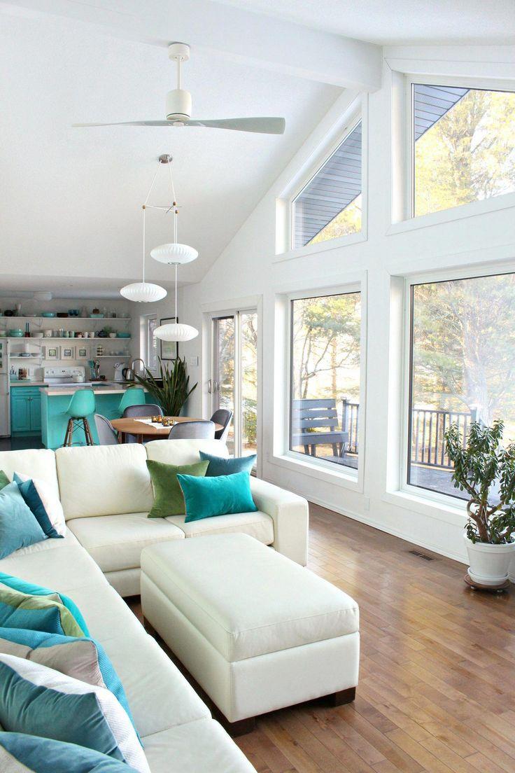 Modern Lake House Living Room. Wall of Windows, White ...