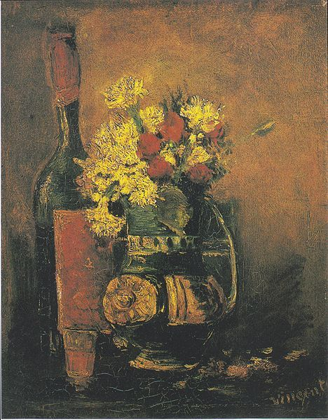Vincent von Gogh - Vase of white carnations and roses and bottle