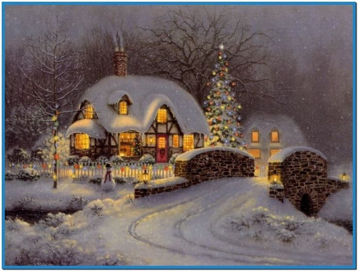 Snowy christmas cottage screensaver - Download free