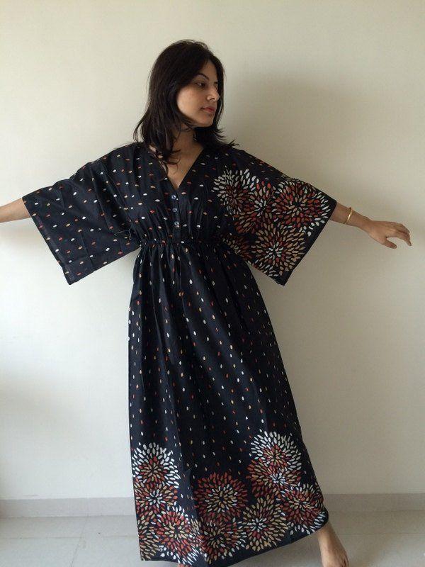 9159f4a783e56 Buttoned Butterfly Sleeves Empire Waist Abstract Kaftan Dress Summer ...