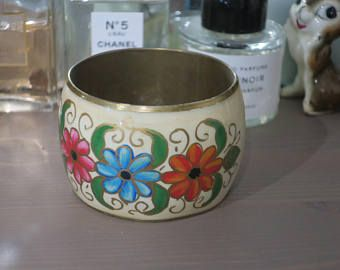 White Floral Brass Bangle