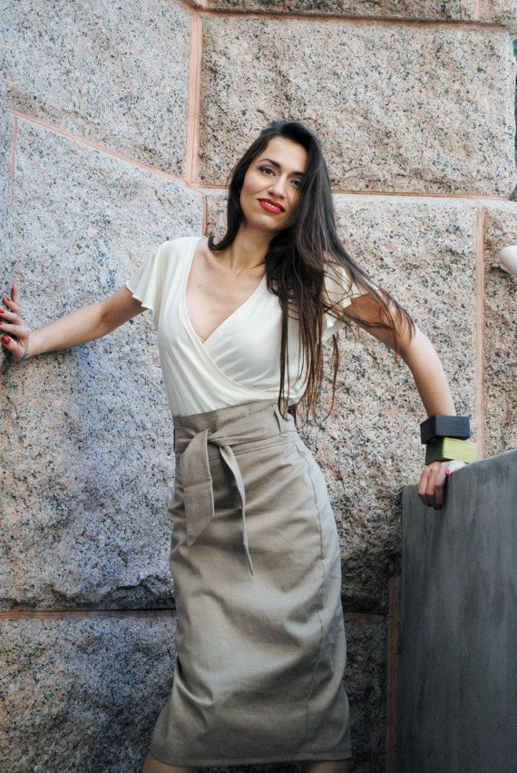 Khaki High Waist Pencil Skirt Womens Clothing in Distressed Khaki Beige Twill Custom Made on Etsy, $89.00