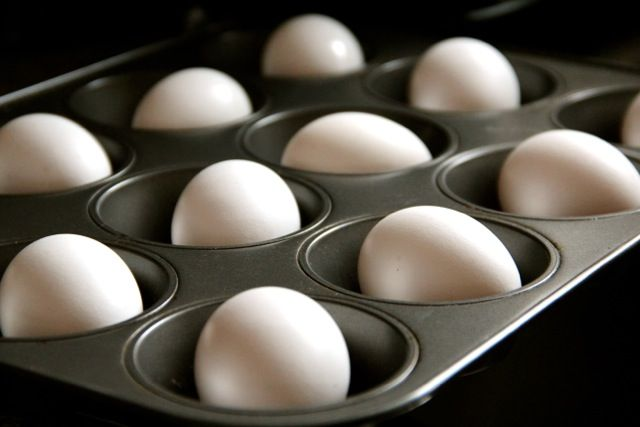 Baked hard-cooked eggs --       Place the eggs in a muffin tray so they do not move around, turn the oven to 325 degrees, pop in for about 25-30 minutes and remove!   ..Not only are they tastier, but they also are much easier to peel!  @