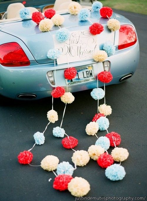 #pom poms on wedding going away car ... Wedding ideas for brides & bridesmaids, grooms & groomsmen, parents & planners ... https://itunes.apple.com/us/app/the-gold-wedding-planner/id498112599?ls=1=8 … plus how to organise an entire wedding, without overspending ♥ The Gold Wedding Planner iPhone App ♥