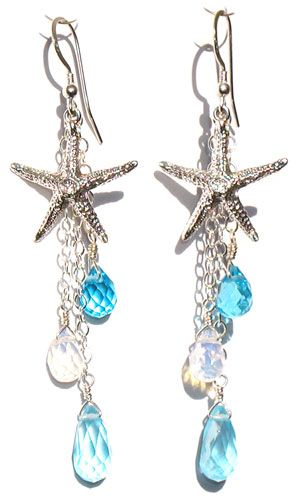 Blue Starfish Earrings from Space Mermaid. $86.