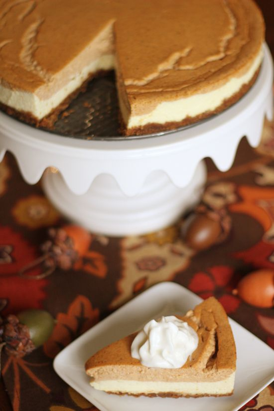 Layered Pumpkin Cheesecake - healthy version!!  185 calories per slice