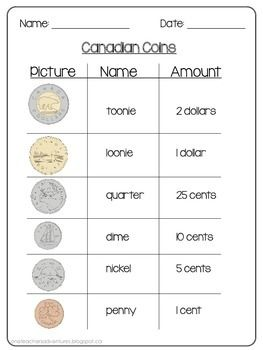FREE Canadian Money (Coins) Practice Sheets