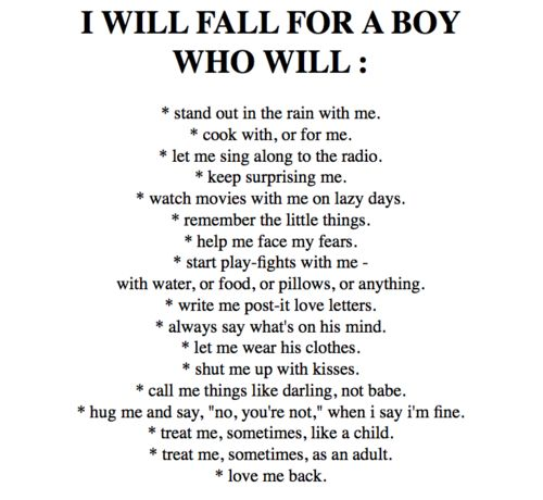 I will fall for ...a man... Not a boy!