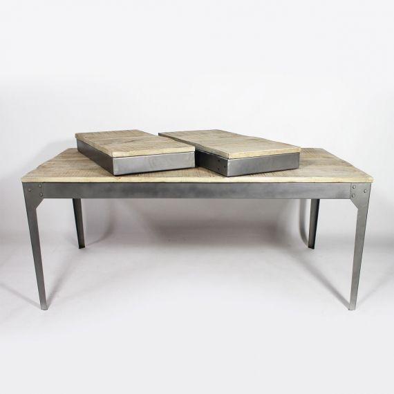 Table Bois Et Metal Avec Allonges Table Bois Bois Et Table Bois Massif