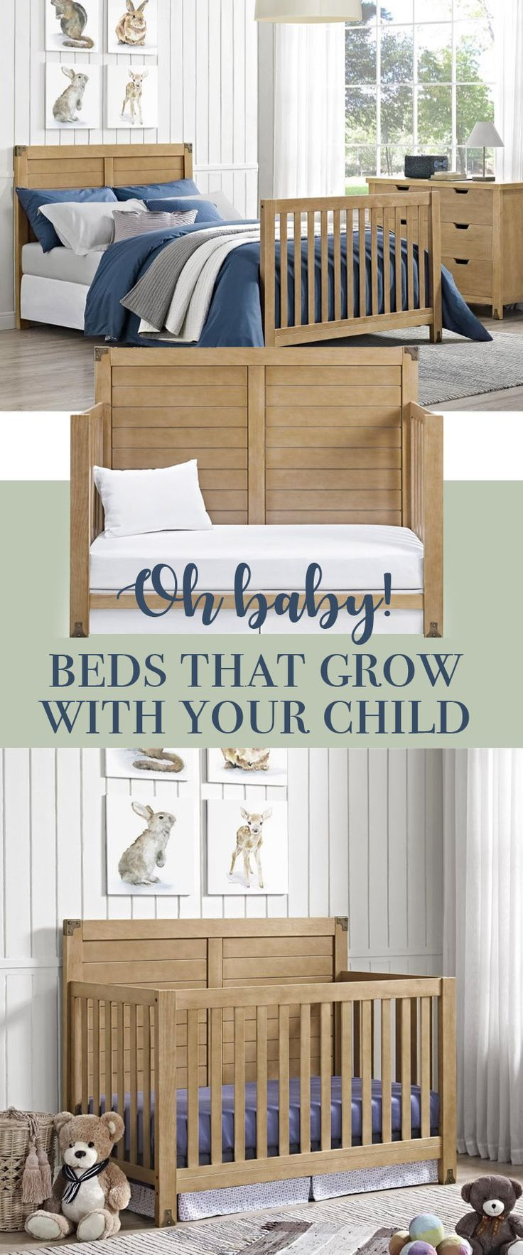 I love furniture that grows with us, and these cribs fit that. From infant bed, to baby, to toddler, and finally the big bed. #furniture #crib #nursery #kids #affiliatel