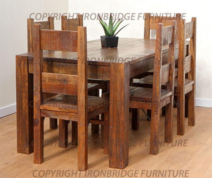 rusztikus étkező asztal, székek, fotó - 1