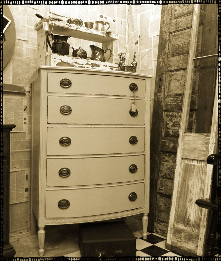 Bow Front Butter Cream Chest of Drawers  $229  52 l X 17 1/2 X 32 W