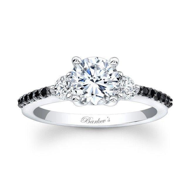 Black Diamond Engagement Ring - Classic elegance with clean lines, this  three stone black diamond
