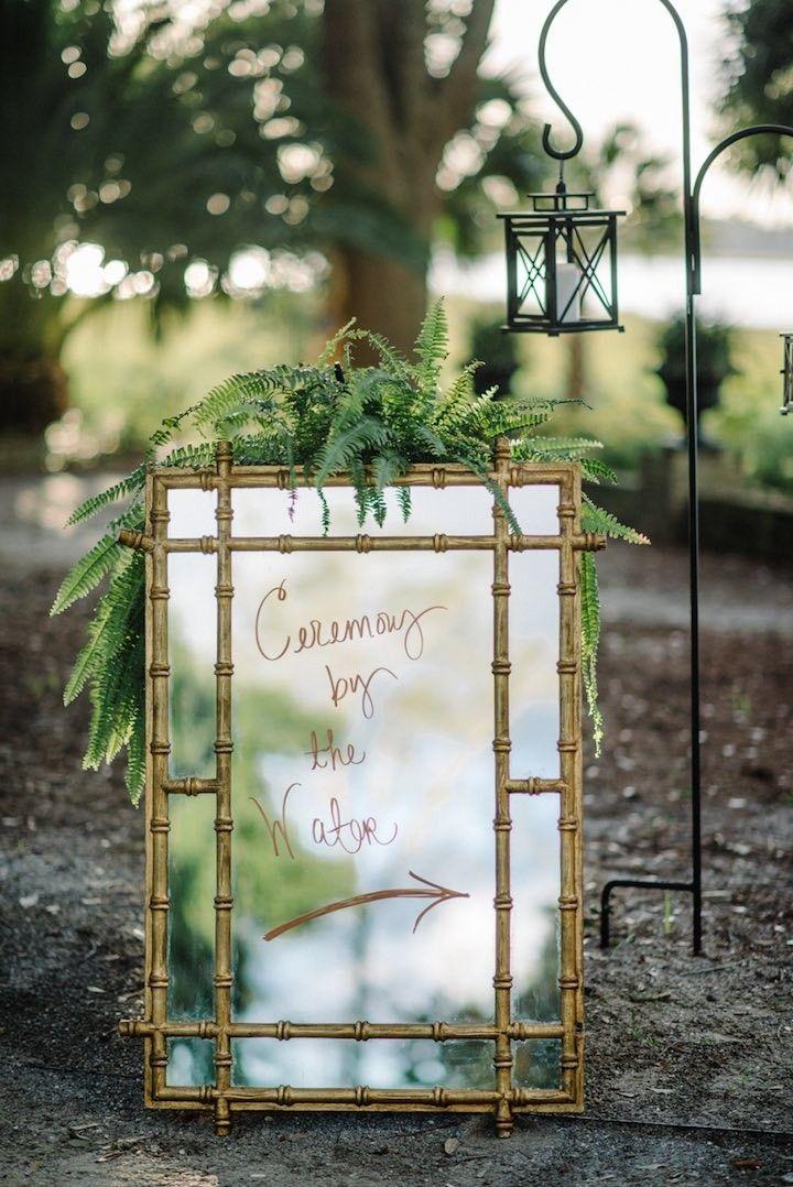 photo: Sean Money + Elizabeth Fay; wedding ceremony with gold wedding detail