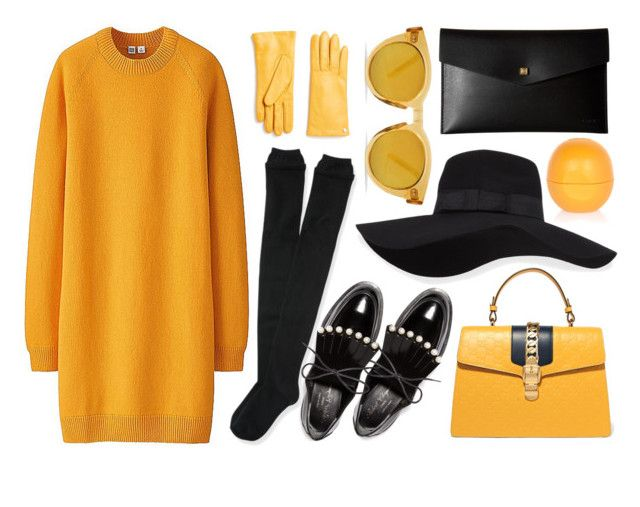 """""""LongSleeveDress"""" by arodkilark ❤ liked on Polyvore featuring Uniqlo, Aéropostale, Robert Clergerie, Gucci, San Diego Hat Co., Furla, Lodis and River Island"""