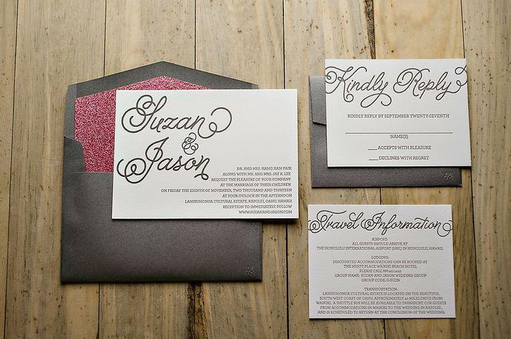 hot pink glitter wedding invitation, letterpress wedding invitations