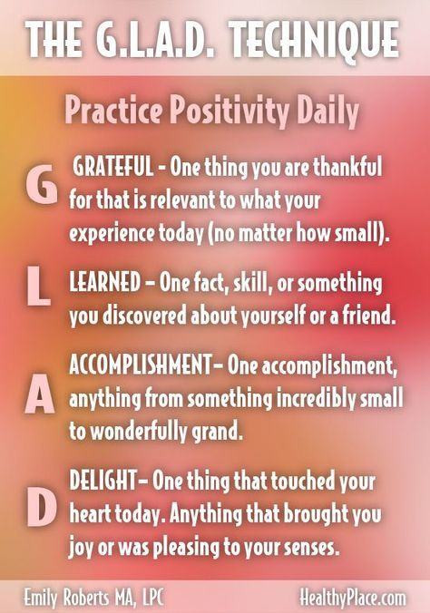 """""""Don't let negative thoughts take over your mind and your self-confidence. Try the G.L.A.D. technique to help you live a more positive and confident life."""" http://www.HealthyPlace.com"""
