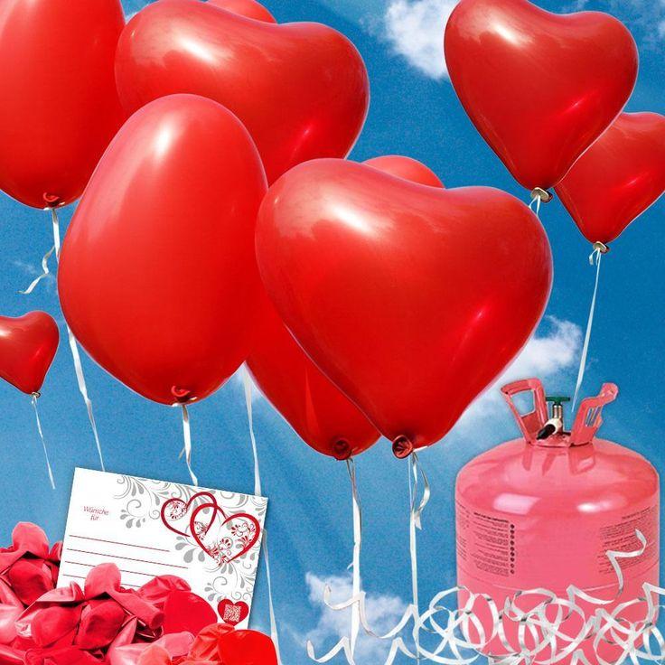 Lieferumfang Komplettpaket Luftballons steigen lassen                Herzluftballons: