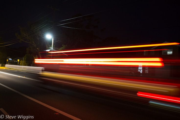 L2M2AS1 - Part B - Blurred motion on night road. ISO 1600, 1/2 sec, f/3.5. M Mode, tripod. Cropped in LR.