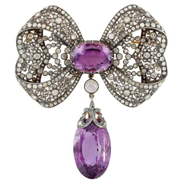 Silver, Gold, Diamond, Amethyst and Moonstone Bow Pendant-Brooch for Sale at Auction on Tue, 02/24/2015 - 07:00 - Fine Jewelry | Doyle Auction House