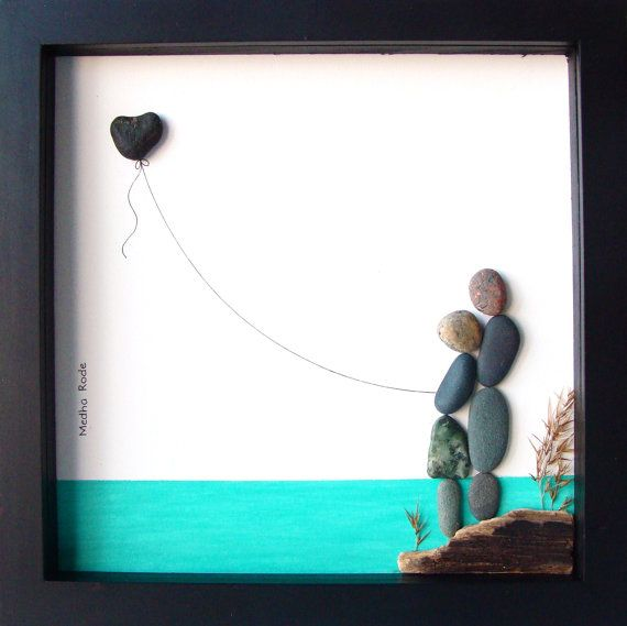 Unique Engagement Gift- Wedding Gift- Personalized Couple's Gift- Pebble Art by MedhaRode
