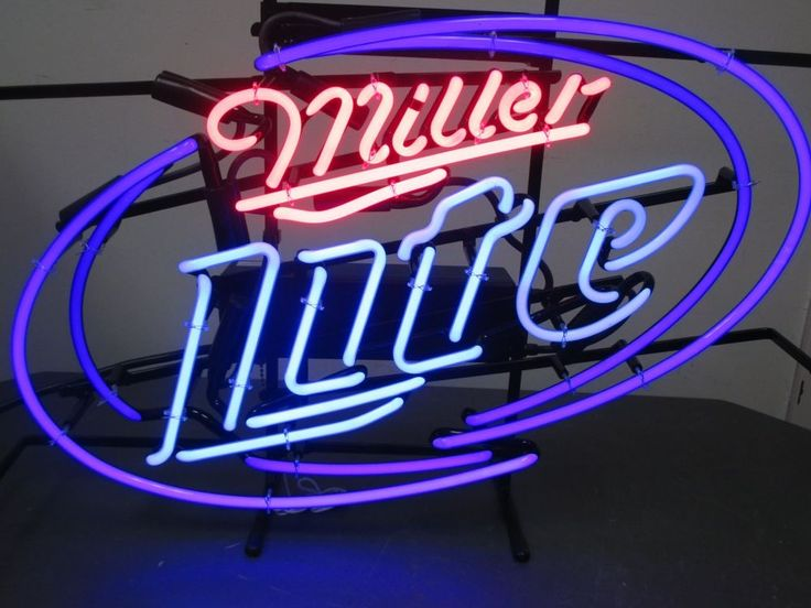 "Brand New In The Box Miller Lite Logo 23"" x 17"" Neon Beer Sign Man Cave Decor"
