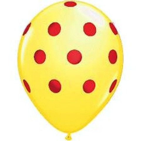 Balloons Yellow with Red Spots (5 Pack) from Pretty Little Party Shop - Stylish Party