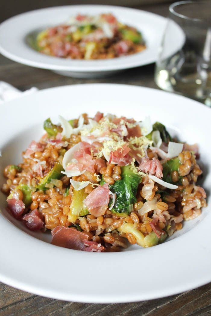 Farro Risotto with Prosciutto, Parmesan and Brussels Sprouts. #FallFest