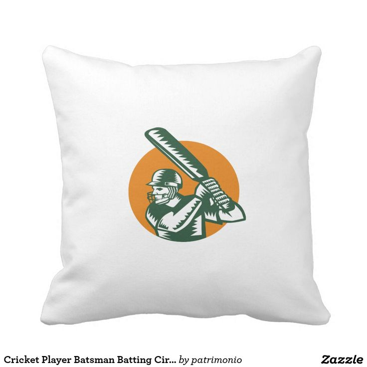 Cricket Player Batsman Batting Circle Woodcut Throw Pillow. Illustration of a cricket player batsman with bat batting viewed from the side set inside circle done in retro woodcut style on isolated background. #cricket #olympics #sports #summergames #rio2016 #olympics2016