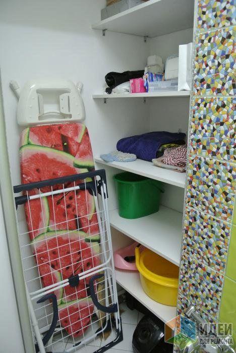 Хозяйственный шкафчик в туалете, хранение гладильной доски