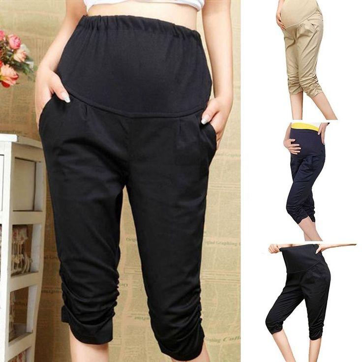 Hot Ladies Maternity Pants High Waist Capri Pants Soft Elastic Pregnant Pants
