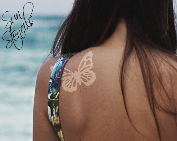 Sun Tan Tattoo Butterfly design  Tanning Sticker by SunStencils