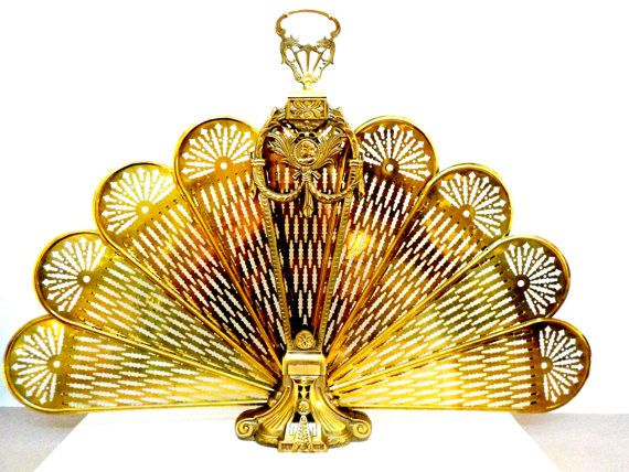 Brass Peacock Fireplace Screen Brass Fan by TheVintagePorch