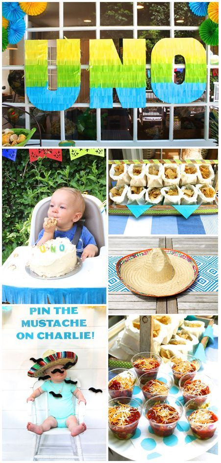 """Fire up your hostess skills for this fiesta-themed first birthday party. Throwing a backyard bash to celebrate your baby turning """"uno"""" makes for a party with lots of promise—you can have tacos, sombreros, and funny little fake moustaches. Bake a homemade smash cake to complete the first birthday fun!"""