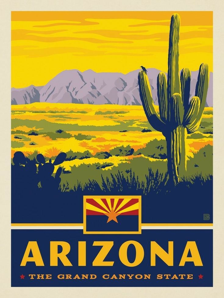 ArizonaVintage Travel PosterA1 A3 A2