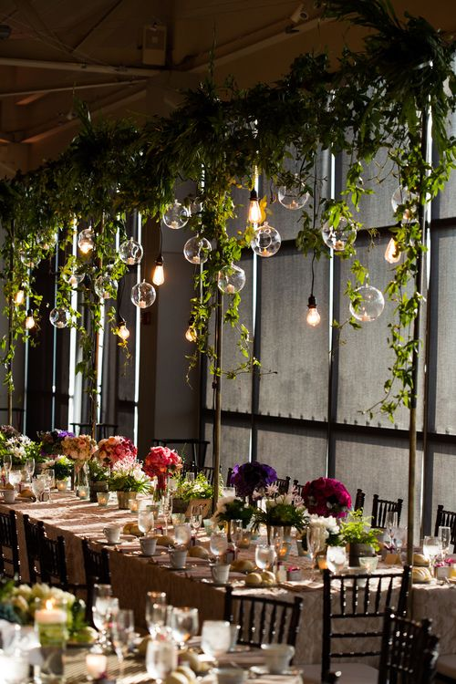 Neat idea. Love the vines over head but they and the light bulbs wont really go with our wedding theme. I don't think there are desert vines BUT perhaps lanterns can hang over long tables or terrariums with strung succulents? May be too much.......