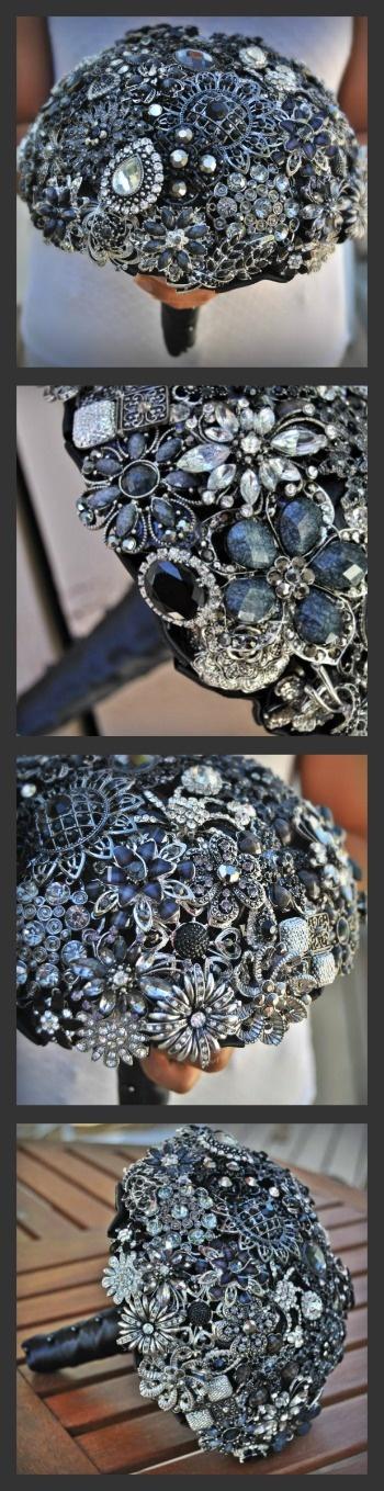 Black Brooch Bouquet by Blue Petyl #black #broochbouquet