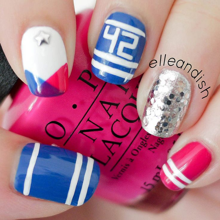 Sporty School Spirit Nails!  Represent your school or favorite sports team by using your team/school colors, adding numbers, or school or team initials!