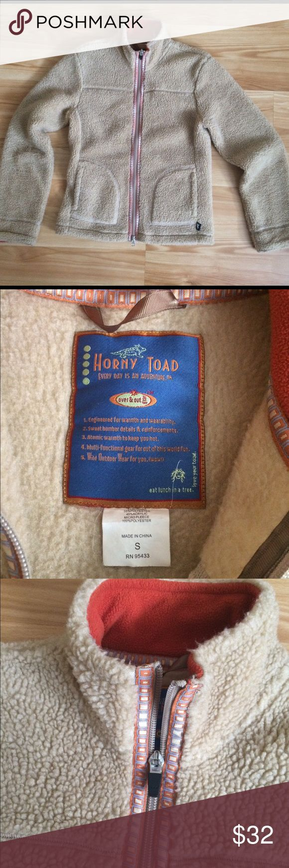 Horny Toad zip up fleece Women's small Horny Toad fleece. Zip front. Neutral tan color. Fun detail at zipper. Cute and cozy Horny Toad Jackets & Coats