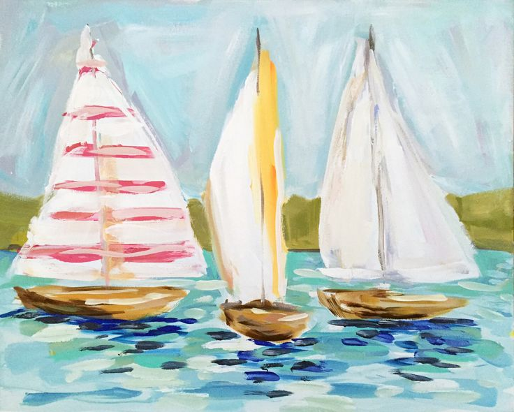 Abstract Sailboat Painting Canvas Original pink coral aqua by Marendevineart on Etsy https://www.etsy.com/listing/268708954/abstract-sailboat-painting-canvas