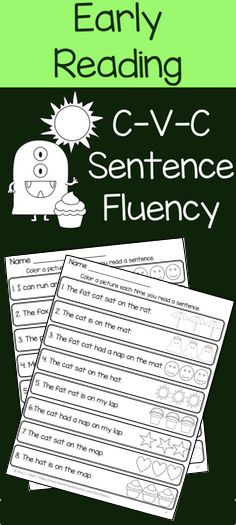 NO PREP. CVC sentence fluency with simple sight words. Students read a sentence…