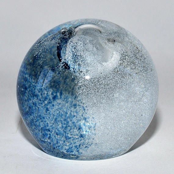 Caithness Glass Scotland Splashdown Blue & Clear Paperweight