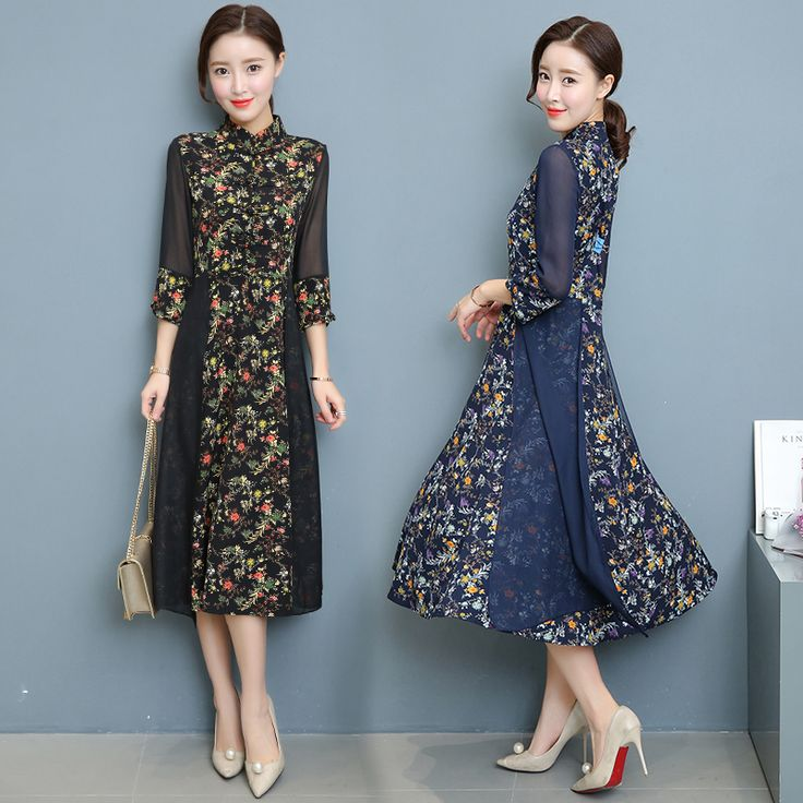 2017 Chinese wind the cheongsam  collar seven long sleeve dress maxi vestidos mujer robe femme lace plus size elbise jurken