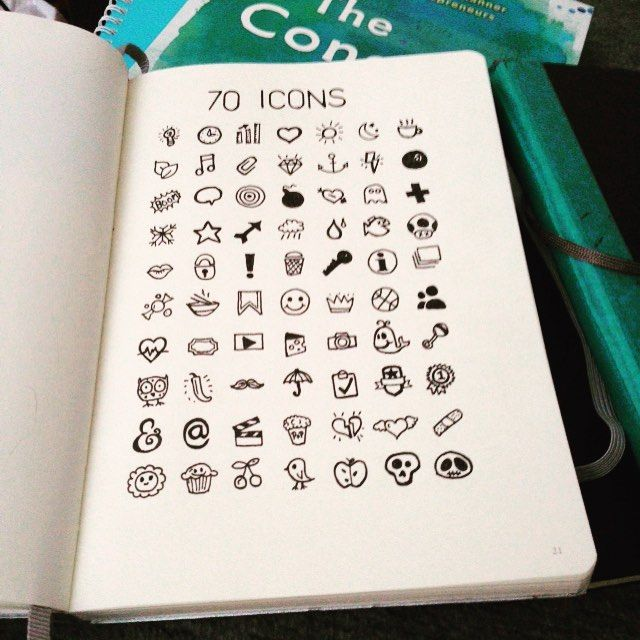 70 icons Sunday morning sketching. #ottawadesigner #sketchbook #bulletjournal