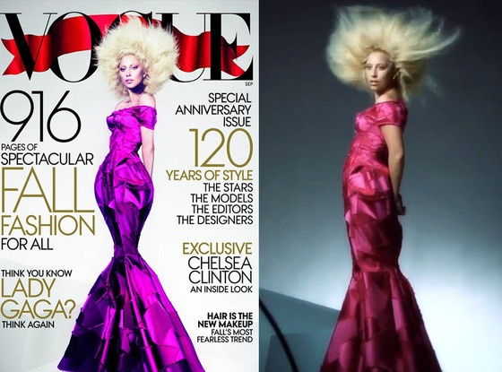 Lady Gaga on the cover of the September 2012 VOGUE, and the original photo