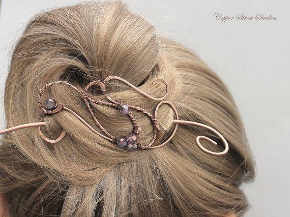 Copper Hair Clip, Hair Barrette Purple Beads, Free Form Wire Art Hair Pin, Wire Wrapped Hair Brooch, Hair Jewelry, Hair Accessories Women