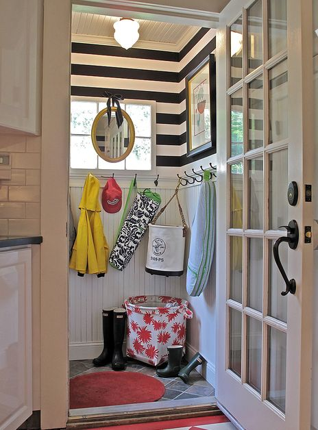 black and white striped mud room: Ideas, Beads Boards, Mudroom, Stripes Wall, Black And White, Mud Rooms, Laundry Rooms, Striped Walls, Small Spaces
